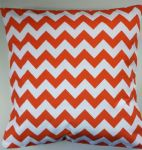 "Cushion Cover in Riley Blake Chevron Orange White Stripe 14"" 16"" 18"" 20"""